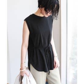 ノースリーブ2way裾ラウンド Tシャツ (ブラック)