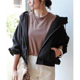 ボリューム袖フード付きブルゾン ジャケット (ブラック)