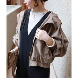 ボリューム袖フード付きブルゾン ジャケット (モカブラウン)