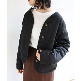ノーカラーキルティングジャケット (ブラック)