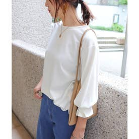 ポンチ長袖袖口タックTシャツ トップス (オフホワイト)