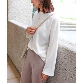 ポンチ長袖オーバーサイズTシャツ トップス (オフホワイト)
