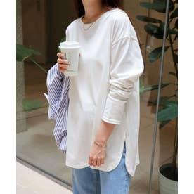 USAコットン長袖オーバーサイズ裾ラウンド Tシャツ (オフホワイト)
