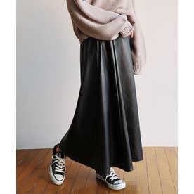 エコレザー合皮フレアロングスカート ウエストゴム (ブラック)