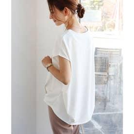 ポンチフレンチスリーブ裾タックトップス (オフホワイト)