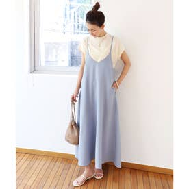 きれいめツイルキャミワンピース ジャンパースカート (ブルー)