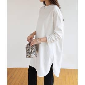 コットン長袖オーバーサイズ裾ラウンドTシャツチュニック (オフホワイト)