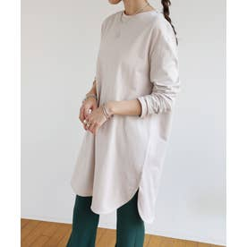 コットン長袖オーバーサイズ裾ラウンドTシャツチュニック (アイスベージュ)