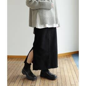 コットンツイルタイトカーゴロングスカート (ブラック)