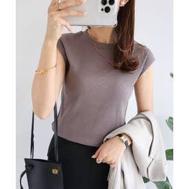 テレコリブフレンチスリーブクルーネックTシャツ (チャコールグレー)