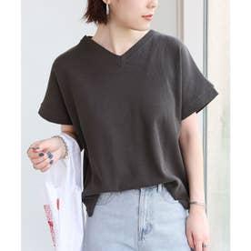 コットンワッフル半袖VネックTシャツ トップス (チャコールグレー)