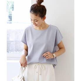 きれいめポンチ半袖ドルマンTシャツ トップス (ブルーグレー)
