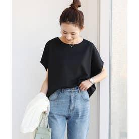 きれいめポンチ半袖オーバーサイズドルマンTシャツ トップス (ブラック)