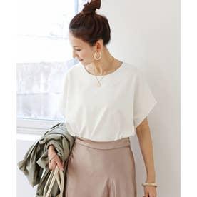 きれいめポンチ半袖オーバーサイズドルマンTシャツ トップス (オフホワイト)