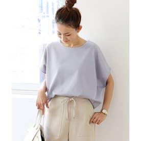 きれいめポンチ半袖オーバーサイズドルマンTシャツ トップス (ブルーグレー)