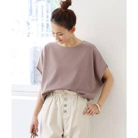 きれいめポンチ半袖オーバーサイズドルマンTシャツ トップス (グレージュ)