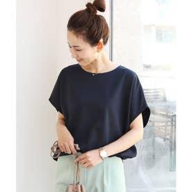 きれいめポンチ半袖オーバーサイズドルマンTシャツ トップス (ネイビー)