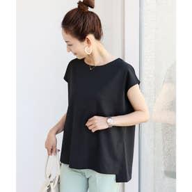 きれいめポンチフレンチスリーブサイドスリットTシャツ トップス (ブラック)