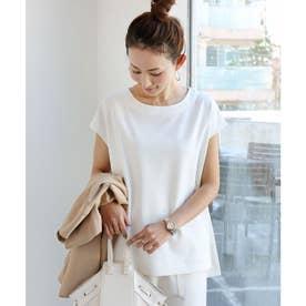 きれいめポンチフレンチスリーブサイドスリットTシャツ トップス (オフホワイト)