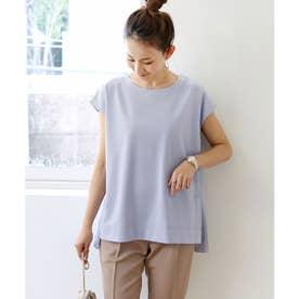 きれいめポンチフレンチスリーブサイドスリットTシャツ トップス (ブルーグレー)