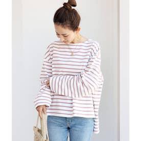 コットン長袖オーバーサイズボーダーTシャツ トップス (オフホワイト×ピンク)