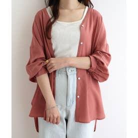 とろみ素材ボリューム袖シャツブラウス トップス (ピンク)