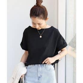 コットン半袖ボートネックTシャツ トップス (ブラック)