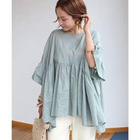 綿ローン半袖オーバーサイズギャザーシャツブラウス トップス (ミント)