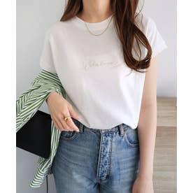 コットン天竺フレンチスリーブWhateverロゴ刺繍Tシャツ トップス (オフホワイト)