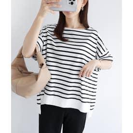 コットン半袖オーバーサイズボーダーTシャツ トップス (オフホワイト×ブラック)