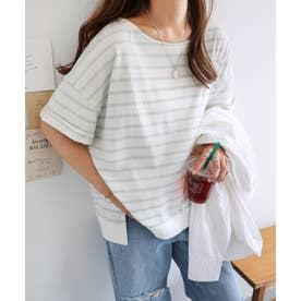 コットン半袖オーバーサイズボーダーTシャツ トップス (オフホワイト×ミント)