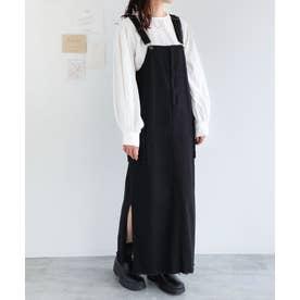 コットンツイルダブルポケットジャンパースカート ワンピース (ブラック)