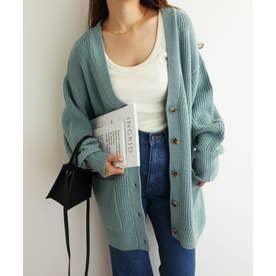 アクリルナイロン片畦編み長袖オーバーサイズニットカーディガン (グリーンブルー)