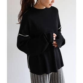 ジャガード編み長袖配色パイピングニットトップス セーター (ブラック)
