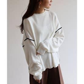 ジャガード編み長袖配色パイピングニットトップス セーター (ホワイト)