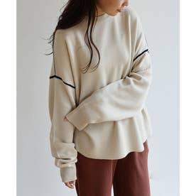 ジャガード編み長袖配色パイピングニットトップス セーター (ライトベージュ)
