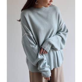 ジャガード編み長袖配色パイピングニットトップス セーター (ブルー)