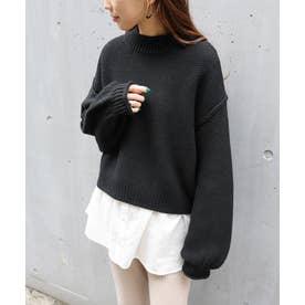 鹿の子編み長袖オーバーサイズプチハイネックニットトップス セーター (ブラック)