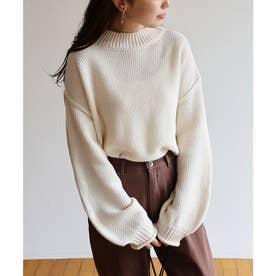 鹿の子編み長袖オーバーサイズプチハイネックニットトップス セーター (アイボリー)