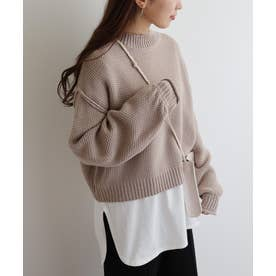 鹿の子編み長袖オーバーサイズプチハイネックニットトップス セーター (グレージュ)