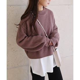 鹿の子編み長袖オーバーサイズプチハイネックニットトップス セーター (モカ)