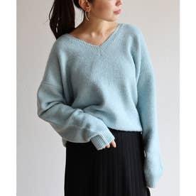 ストレッチ天竺編み長袖オーバーサイズVネックニットトップス セーター (ブルー)