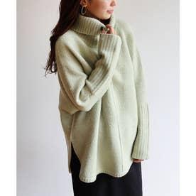天竺編みオーバーサイズ長袖タートルネックラウンドヘムニットトップス ポンチョ (グリーン)