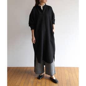 バンドカラー長袖ロングシャツワンピース (ブラック)