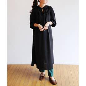 とろみ素材2way長袖衿ギャザーロングワンピース (ブラック)