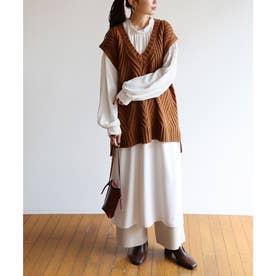 とろみ素材2way長袖衿ギャザーロングワンピース (オフホワイト)