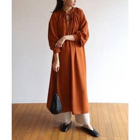 とろみ素材2way長袖衿ギャザーロングワンピース (テラコッタ)