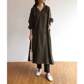 とろみ素材2way長袖衿ギャザーロングワンピース (ダークグリーン)
