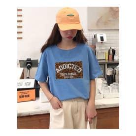 レオパードロゴプリントTシャツ (ブルー)