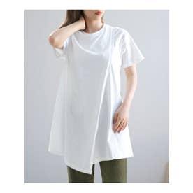 オーガニックコットンアシンメトリーTシャツ (ホワイト)